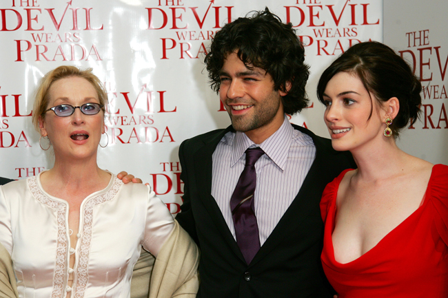 NEW YORK - JUNE 19:  (L-R) Actors Meryl Streep, Adrian Grenier and Anne Hathaway attend the 20th Century Fox premiere of The Devil Wears Prada at the Loews Lincoln Center Theatre on June 19, 2006 in New York City.  (Photo by Evan Agostini/Getty Images)
