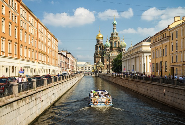 A view towards the Church of the Savior on Spilled Blood, Saint Petersburg, Russia