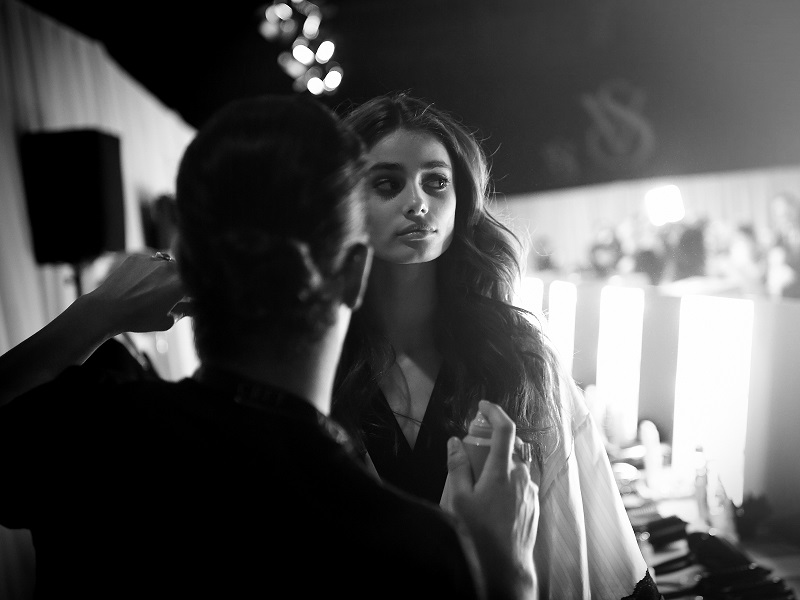 LONDON, ENGLAND - DECEMBER 02:  (EDITORS NOTE: Image has been converted to black and white and digitally retouched) Victoria's Secret model Taylor Hill backstage prior to the 2014 Victoria's Secret Fashion Show on December 2, 2014 in London, England.  (Photo by Gareth Cattermole/Getty Images for Victoria's Secret)
