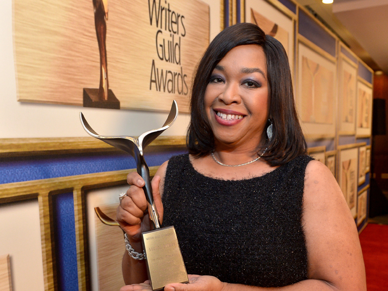 CENTURY CITY, CA - FEBRUARY 14:  Honoree Shonda Rhimes attends the 2015 Writers Guild Awards L.A. Ceremony at the Hyatt Regency Century Plaza on February 14, 2015 in Century City, California.  (Photo by Charley Gallay/Getty Images for WGAw)