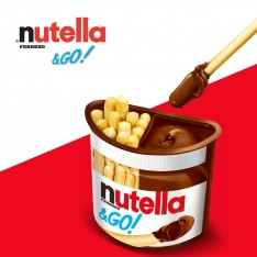 nutella and go red and white