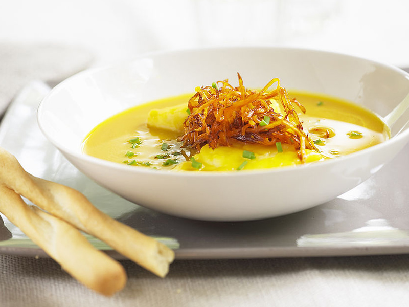 Pumpkin soup with cod (For recipe please contact Photolibrary)